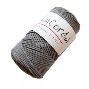 Sznurek do makramy LaCorda Macrame COTTON ciemny Szary 3mm kol.8
