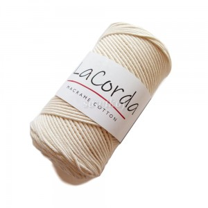 Sznurek do makramy LaCorda Macrame COTTON ECRU 3mm kol.170 biel wełny