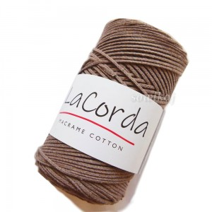 Sznurek do makramy LaCorda Macrame COTTON MOKKA beż kakao 3mm kol.200