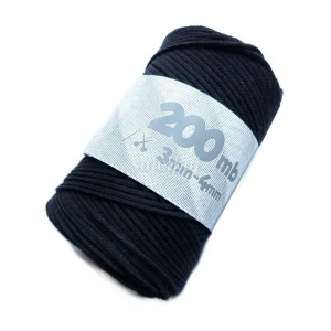 Sznurek do makramy LaCorda Macrame COTTON czarny 3mm kol.160