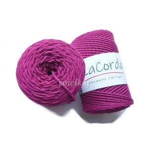 Sznurek do makramy LaCorda Macrame COTTON CHIANTI różowy ciemny 3mm