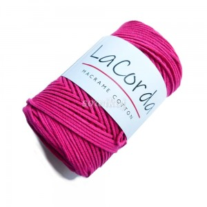 Sznurek do makramy LaCorda Macrame COTTON FUKSJA róż mocny 3mm
