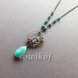 Turkus wisiorek wire-wrapping srebrny