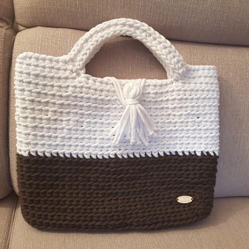 804e79230d65e Ręcznie robiona torebka ze sznurka Biała czekolada sowikoj autorska ...