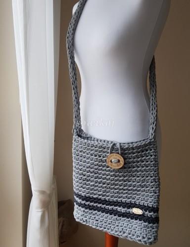 d103158d6d523 Listonoszka Ręcznie robiona torebka ze sznurka siwa sowikoj autorska ...