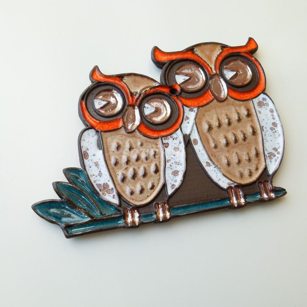 91d6c505fccf91 Dwie sowy ceramika panel ozdobny sowa sowikoj autorska biżuteria i ...